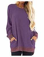 cheap -women's usual long sleeve round neck pocket t shirts blouses tunic tops