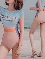 cheap -Women's Rash Guard Dive Skin Suit Swimwear Breathable Quick Dry Long Sleeve Back Zip - Swimming Surfing Water Sports Painting Summer