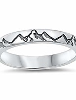 cheap -oxidized mountain range ring new .925 sterling silver band size 9