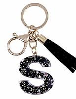 cheap -tassel black keychain letter alphabet s charm key ring for women girl
