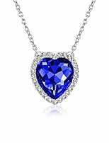 cheap -sapphire september birthstone necklace blue heart pendant birthday christmas jewelry gifts for women and girls