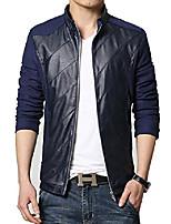 cheap -mens jacket pu pachwork slim fit cotton casual jacket navy