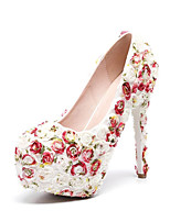cheap -Women's Wedding Shoes Platform Round Toe Vintage Sexy Roman Shoes Wedding Party & Evening PU Satin Flower Lace Color Block Rainbow