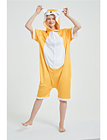 cheap -Adults' Kigurumi Pajamas Fox Onesie Pajamas Pure Cotton Yellow Cosplay For Men and Women Animal Sleepwear Cartoon Festival / Holiday Costumes