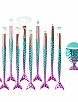 cheap -mermaid makeup brush set, 10pcs premium synthetic professional makeup brushes foundation angled coutour brush concealer shader eyeshadow face brushes(colorful)