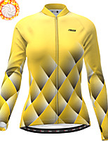 cheap -21Grams Women's Long Sleeve Cycling Jacket Winter Fleece Polyester Yellow Geometic Bike Jacket Top Mountain Bike MTB Road Bike Cycling Thermal Warm Fleece Lining Breathable Sports Clothing Apparel