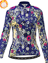 cheap -21Grams Women's Long Sleeve Cycling Jersey Winter Fleece Polyester White Blue Pink Floral Botanical Christmas Bike Jersey Top Mountain Bike MTB Road Bike Cycling Fleece Lining Warm Quick Dry Sports