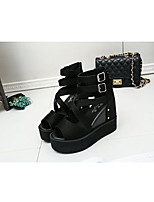 cheap -Women's Sandals Wedge Heel Peep Toe Roman Shoes Daily Walking Shoes PU Solid Colored Black
