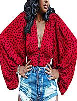 cheap -women's deep v neck leopard print buttons long sleeve crop top blouse red small