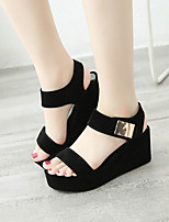 cheap -Women's Sandals Wedge Heel Peep Toe Casual Daily Walking Shoes Suede Solid Colored White Black Gray