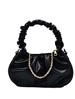 cheap -Women's Bags PU Leather Top Handle Bag Ruched Bag Chain Plain 2021 Daily Going out White Black Khaki Brown
