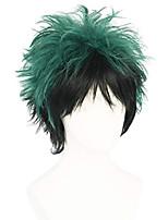 cheap -halloweencostumes Deku Cosplay Unisex Anime Deku Cosplay Wig Short Green Black Wigs Layered Two Tone Cosplay Halloween Costume Wigs MHA Cosplay My Hero Academia Cosplay