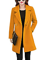 cheap -womens elegant notched collar button wool blend solid long pea coat overcoat (yellow, x-large)
