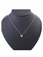 cheap -tiny skull necklace chain skeleton pendant necklaces jewelry for women and girls (gold)