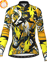 cheap -21Grams Women's Long Sleeve Cycling Jersey Winter Fleece Polyester Yellow Bike Jersey Top Mountain Bike MTB Road Bike Cycling Fleece Lining Breathable Warm Sports Clothing Apparel / Stretchy