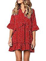 cheap -women's casual v neck ruffle polka dot loose swing short t-shirt dress red-m