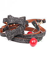 cheap -Dog Collar Leash Adjustable Retractable Durable Outdoor Walking Plaid / Check Classic Bowknot PU Leather Small Dog Medium Dog Red Blue Dark Blue Gray 1pc