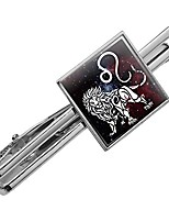 cheap -leo lion zodiac sign horoscope in space square tie bar clip clasp tack- silver or gold