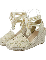 cheap -Women's Sandals Wedge Heel Round Toe Roman Shoes Daily Canvas Mesh Solid Colored Almond