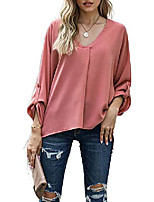 cheap -womens v-neck roll up bell long sleeve high low tunic tops chiffon t-shirt blouse red xl 16 18
