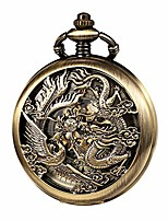 cheap -mens antique mechanical pocket watch bronze lucky dragon & phoenix retro skeleton dial double cover with chain