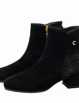cheap -Women's Boots Chunky Heel Square Toe Casual Daily Walking Shoes Suede Black / Booties / Ankle Boots
