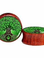cheap -2pcs red wood tree of life ear plugs tunnels 8-25mm gauges double flared saddle plugs stretcher expander piercings jewelry (00g (10m))