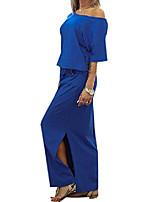 cheap -women's off shoulder side slit casual maxi dress with pockets blue medium