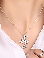 cheap -real 925 sterling silver long zircon butterfly necklaces pendant fashion sterling silver jewelry statement chain necklace for women ladies girls gifts silver one size