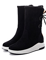 cheap -Women's Boots Flat Heel Round Toe Mid Calf Boots Casual Daily Walking Shoes Nubuck Solid Colored Black Dusty Rose / Mid-Calf Boots