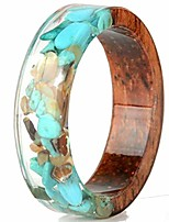cheap -8mm transparent acrylic resin wood ocean style wedding band anniversary ring (turquoise, 7)