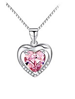 cheap -sterling silver 8mm heart shape crystal and cubic zirconia pendant necklace(blue)