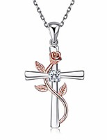 cheap -necklace for women infinity rose pendant 925 sterling silver rose gold-plated flower necklace romantic love jewelry gift for women