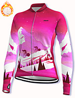 cheap -21Grams Women's Long Sleeve Cycling Jacket Winter Fleece Spandex Red Bike Jacket Mountain Bike MTB Road Bike Cycling Fleece Lining Warm Sports Clothing Apparel / Stretchy / Athleisure