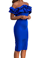 cheap -Women's Sheath Dress Knee Length Dress - Short Sleeve Solid Color Split Ruffle Patchwork Summer Off Shoulder Sexy Party Going out Puff Sleeve Skinny 2020 Blue S M L XL