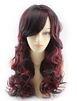cheap -Synthetic Wig Body Wave With Bangs Wig Long Black / Red Synthetic Hair Women's Cosplay Soft Highlighted / Balayage Hair Red Black