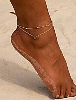 cheap -beads heart anklets women heart gold ankle bracelet charm beaded dainty foot jewelry for women gold silver anklets beach foot chain for teen girls (gold)