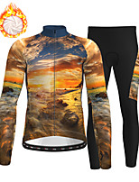 cheap -21Grams Men's Long Sleeve Cycling Jersey with Tights Winter Fleece Polyester Blue+Yellow Bike Clothing Suit Fleece Lining Breathable 3D Pad Warm Quick Dry Sports Graphic Mountain Bike MTB Road Bike