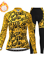 cheap -21Grams Women's Long Sleeve Cycling Jersey with Tights Winter Fleece Polyester Black / Yellow Bike Clothing Suit Thermal Warm Fleece Lining Breathable 3D Pad Warm Sports Printed Mountain Bike MTB
