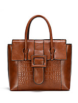 cheap -Women's Bags PU Leather Leather Satchel Top Handle Bag Buttons Daily Outdoor Handbags Baguette Bag Dark Brown Black Red Brown