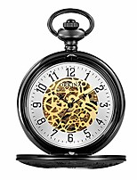 cheap -quartz pocket watch men and women flip clap watch men's mechanical pocket watch gold vintage stainless steel pocket watch (color : black)