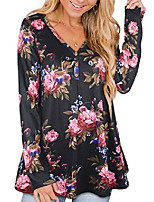 cheap -womens floral long sleeve henley t shirts cotton plus size tunic tops l