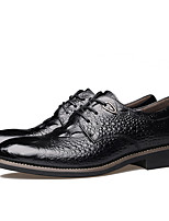 cheap -Men's Oxfords Business Vintage Daily Office & Career Walking Shoes Cowhide Breathable Non-slipping Wear Proof Black Yellow Spring Fall