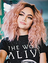 cheap -Synthetic Wig Curly Water Wave Middle Part Wig Medium Length Pink / Orange Synthetic Hair Women's Soft Color Gradient Ombre Hair Pink Orange