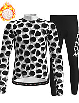 cheap -21Grams Men's Long Sleeve Cycling Jersey with Tights Winter Fleece Polyester Black / White Bike Clothing Suit Fleece Lining Breathable 3D Pad Warm Quick Dry Sports Graphic Mountain Bike MTB Road Bike