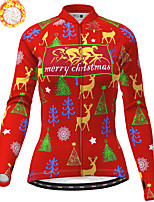 cheap -21Grams Women's Long Sleeve Cycling Jersey Winter Fleece Polyester Purple Red Blue Skull Christmas Santa Claus Bike Jersey Top Mountain Bike MTB Road Bike Cycling Fleece Lining Warm Quick Dry Sports