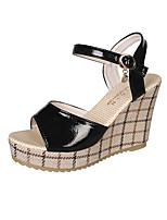 cheap -Women's Sandals Wedge Heel Peep Toe Casual Daily Walking Shoes PU Solid Colored Black Pink Beige