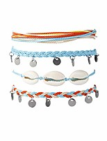 cheap -4 pcs braided shell feet rope coin ankle bracelets,adjustable string boho anklets foot cord beach jewelry for women teen girls boys