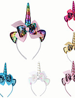 cheap -1pcs Toddler Girls' Sweet Unicorn Patchwork Sequins / Bow Hair Accessories White / Blue / Red One-Size