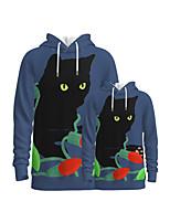 cheap -Family Look Active Cat Graphic Optical Illusion Animal Print Long Sleeve Regular Hoodie & Sweatshirt Dusty Blue